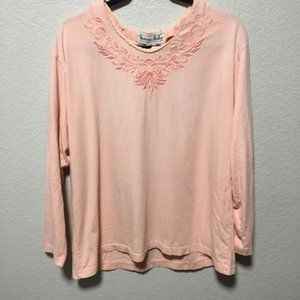 VTG Victoria Holley Pink Embroidered Floral Top Vintage Long Sleeve Cotton Lg